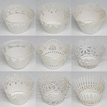 Sophiebella White Cupcake-Wrappers for Cupcake-Liners for Party, 60 pcs 5 Packs, Random 5 Styles