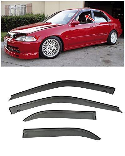 - Extreme Online Store for 1992-1995 Honda Civic 4Dr Sedan | EOS Visors JDM Tape-On Smoke Tinted Side Window Visors Rain Guard Deflectors DX LX EX