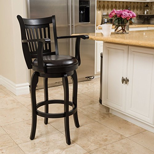 NEW Black with Espresso, Traditional Barstool Design Armed Espresso Leather Swivel (Seat Cushions Uk Wicker)