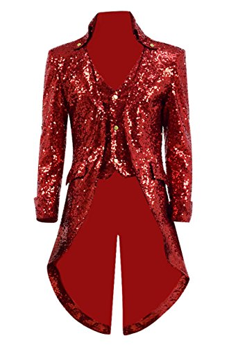 Very Last Shop Mens Gothic Tailcoat Jacket Black Steampunk Victorian Long Coat Halloween Costume (US Men-S, Red(Sequin)) -