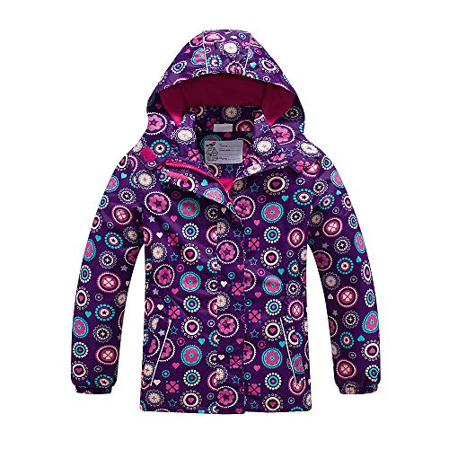 Girls Rain Jacket - Waterproof Jacket for Girls with Hood,Best for Rain School Day,Hiking and Camping (1302, 12)