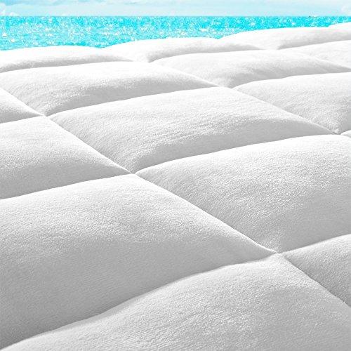 Pillow-Top Premium Mattress Pad - Overfilled Super Soft Velvet Reversible Topper - With Deep Fitted Skirt (Twin) - Luxury Pillow Top Mattress