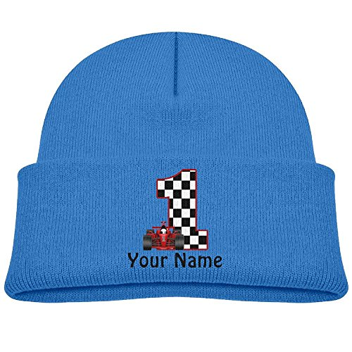 Infant 1st Birthday Race Car Personalized Unisex Baby Beanie children Kids Toddler Cotton Soft Cute Lovely Knit Beanie Hat Cap Royalblue