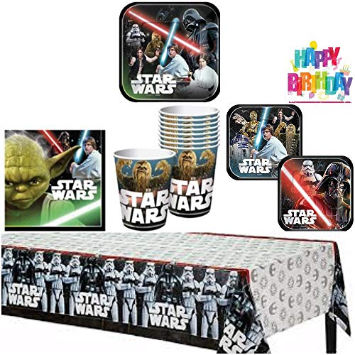 Star Wars Birthday Party Supplies Pack for 8 Guests  8 lunch plates 8 dessert plates 4 of each design 16 lunch napkins 8 cups and a table cover