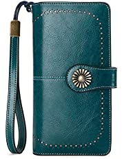 100% Genuine Waxed Leather RFID Protected Purse, Large Capacity with 24 Card Slots and can Hold iPhone 11/iPhone 11 Pro Max/Samsung