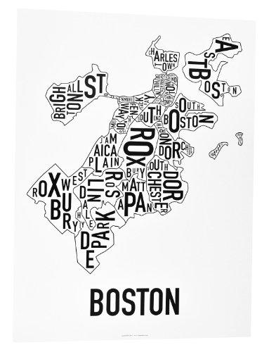 Boston Neighborhoods Map Art Poster, Black & White