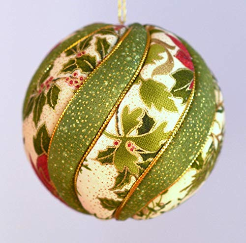 Christmas Ornament in Red, Green and Ivory, Cotton Fabric, 3