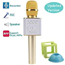 Thiroom Portable Wireless Mic Bluetooth Speaker Handheld Karaoke Microphone for Smart Phone (Mic Pro)