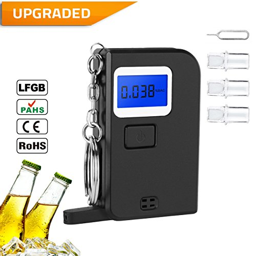 Breathalyzer, Portable Digital Breath Alcohol Tester LED Screen With 3 Mouthpieces for Home Use