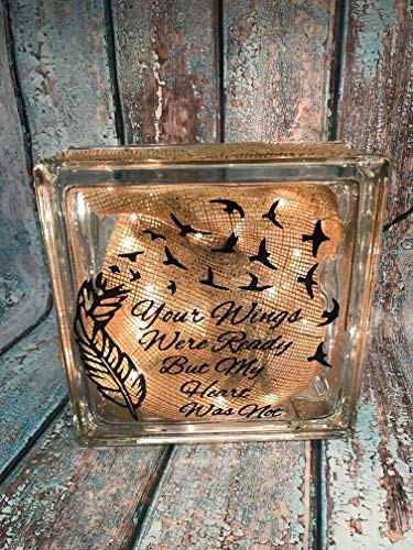 Christmas Glass Blocks - your wings were ready but my heart was not lighted glass block - memorial gift - Christmas gift for Mom - funeral gift - loss of loved one gift - your wings were ready night light - unique memorial