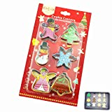 Small Metal Winter Cookie Cutter Set for Kids - 6 Assorted Stainless Steel Mini Cutouts Cutters - Angel, Tree, Jingle Bell, Snowflake, Snowman, Gingerbread Man - LFGB and FDA Approved