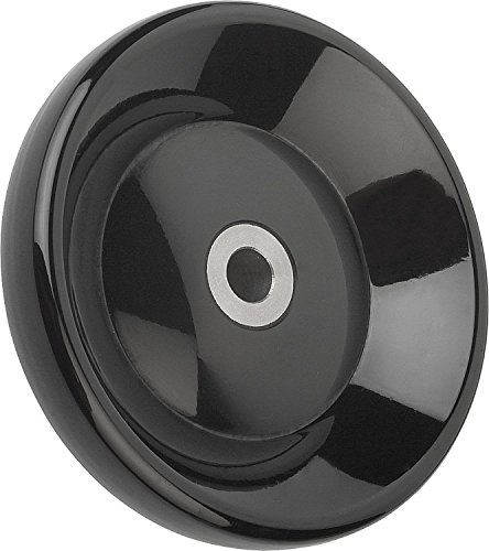 Kipp 06288-1160XCR Duroplastic Black Disc Handwheel without Revolving Handle, Steel Bushing, High-Gloss Polished Finish, Style E, Inch, 160 mm Diameter, 0.75'' Bore Size