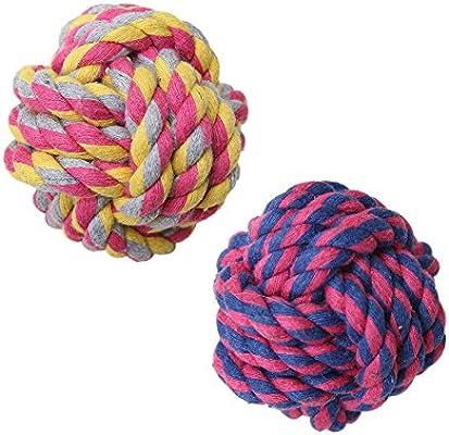 Pelota de juguete con cuerda para perro, pack de 2 bolas trenzadas de algodón para limpiar los dientes de los perros: Amazon.es: Productos para mascotas