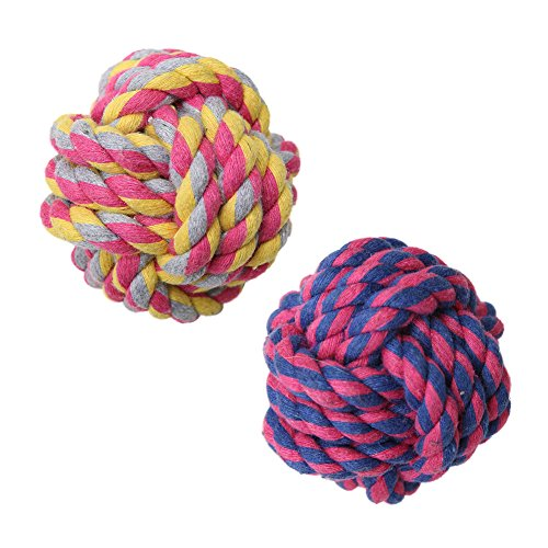 oy Ball, Pack of 2 Braided Cotton Chew Knot Ball for Dog Teeth Cleaning (Braided Rope Toy)