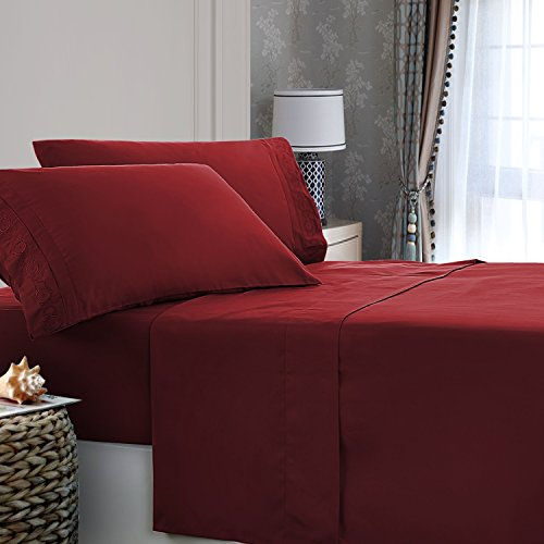 Solid Color Ultra Soft 4-Piece Microfiber Bed Sheets Set, Embroidered Flat Sheet and Pillowcases, Deep Pocket Fitted Sheet (Queen, Burgundy) - Embroidered Fitted Sheet
