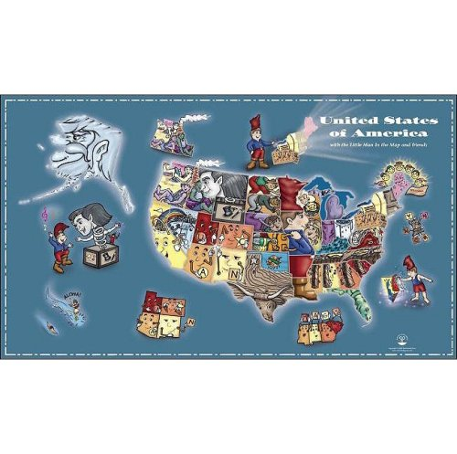 The Little Man In The Map Wall Map With Clues To Remember All 50 States E Andrew Martonyi 9780978510008 Amazon Com Books