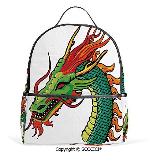 Lightweight Chic Bookbag Monster Portrait Traditional Danger Retro Fantastic Animal Cartoon,Fern Green Orange Red,Satchel Travel Bag Daypack