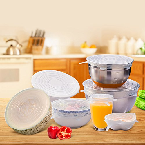 Silicone Stretch Lids, 6-Pack Various Sizes Cover for Bowl by i-Kawachi (Image #7)