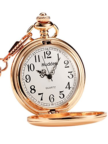 Mudder Classic Smooth Vintage Steel Mens Pocket Watch Xmas Gift (Rose Gold)
