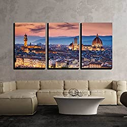 "wall26 - 3 Piece Canvas Wall Art - Beautiful Sunset over Cathedral of Santa Maria Del Fiore (Duomo), Florence, Italy - Modern Home Decor Stretched and Framed Ready to Hang - 24""x36""x3 Panels"