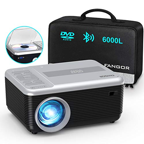 "Mini Projector, FANGOR Portable Movie Projector Built in DVD Player, HD 1080P Bluetooth Projector, 6000L Phone Video Projector 200"" Display, Compatible with TV Stick/ laptop/PS4/ USB/SD /DVD"