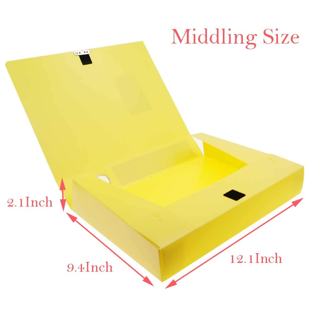 WG3-Z5 H/&W 3 Pack A4 Storage Archives Cases File Boxes Plastic with Lid Box File Height 35 55 75mm,Yellow