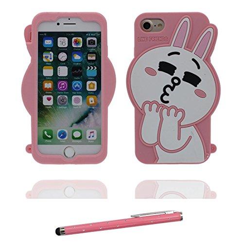 """iPhone 7 Plus (5.5"""") Coque, [ de matériau TPU souple élégant lapin rose ] iPhone 7 Plus étui (5.5 pouces), poussière glissement résistant aux rayures, iPhone 7 Plus Case et stylet"""