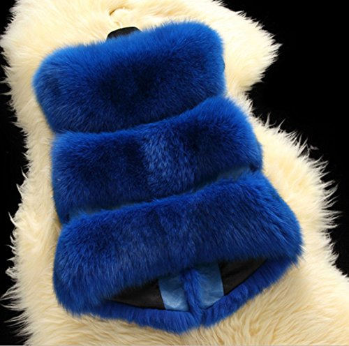 LaoZan Vest Womens Chic Sleeveless Sapphire Jacket Waistcoat Fur Faux Coat Fox Short Blue X11xdnqrB