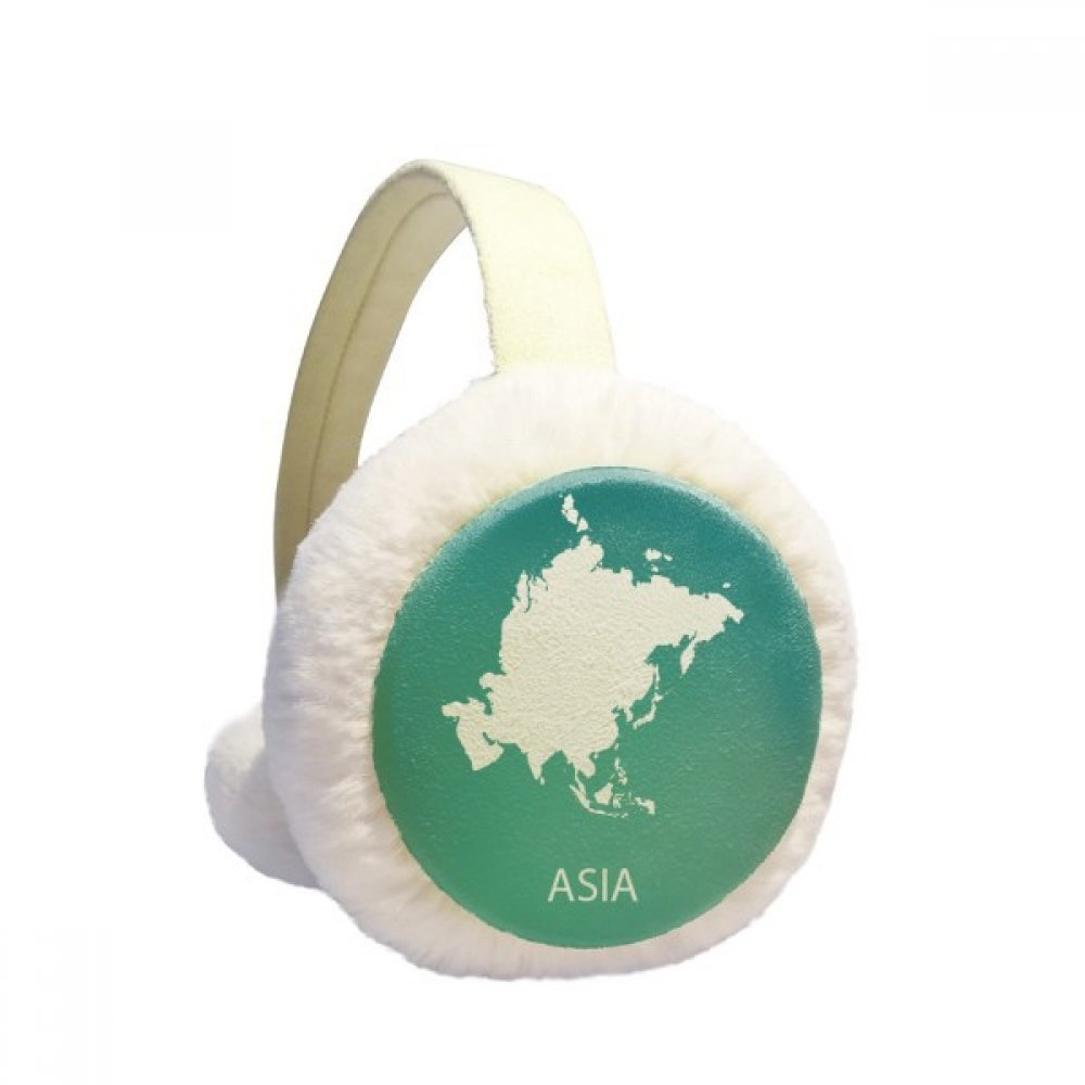 Asia Continent Outline Silhouette Map Winter Earmuffs Ear Warmers Faux Fur Foldable Plush Outdoor Gift