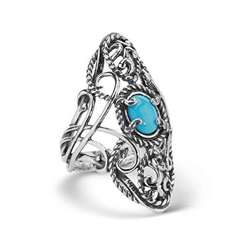 Carolyn Pollack 925 Silver Sleeping Beauty Turquoise Elongated Ring - 7