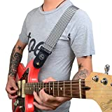 "Amumu 2"" Stripes Nylon Fiber Guitar Strap with Premium Leather Ends Universal,Black+White"
