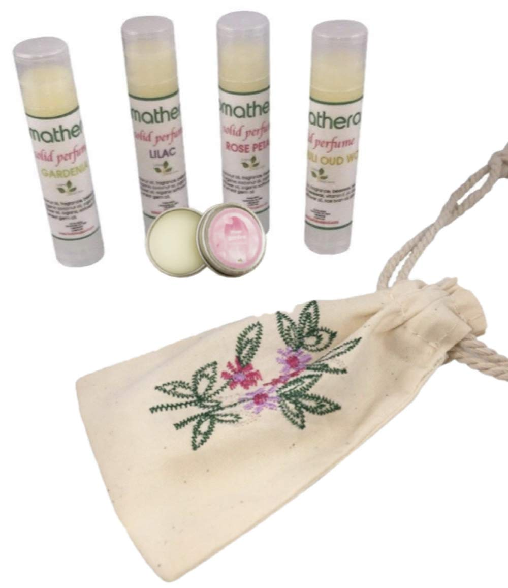 5 Popular Flower Scent Solid Perfume Set with Embroidered Pouch (Lilac, Gardenia, Rose Petal, Patchouli Oud Wood)