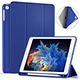 Ztotop Newest iPad 9.7 Inch 2018 Case with Pencil Holder - Lightweight Soft TPU Back Cover and Trifold Stand with Auto Sleep/Wake, Protective for iPad 6th Generation(A1893/A1954), Blue
