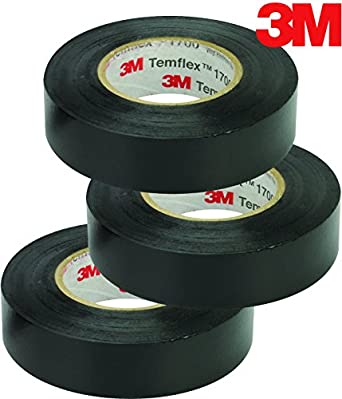 3M Temflex Vinyl Electrical Tape, 1700, 3/4 in x 60 ft, Black 1 5core  (3-Roll)