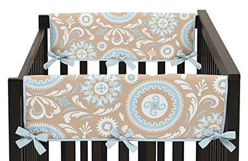 Sweet Jojo Designs 2-Piece Hayden Blue and Taupe Teething Protector Cover Wrap Baby Crib Side Rail Guards