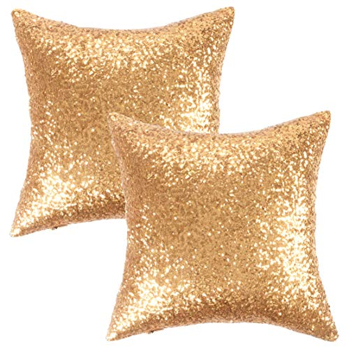 - Kevin Textile New Year Decorative Solid Sequins Throw Pillow Cover Sham 45 x 45 cm Decor Pillow Case, Hidden Zipper Design, (Two Cover Packs, Gold)