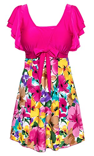 [Wantdo Women's Large Bust Swimwear Swimsuit Plus Size Swimming Costume Swimdress] (Swimming Costume For Womens)