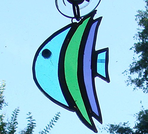 Green, Blue and Purple Tropical Fish Handmade Stained Glass Sun Catcher Ornament - Stained Glass Fish
