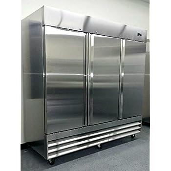 Digital Control - 304 Grade Stainless Steel CFD-3FF 9 Shelves Ft 5 Year Compressor Warranty 81 Freezer Three Locking Doors Commercial Restaurant 72 Cu