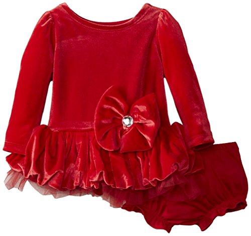 Nannette Baby-Girls Newborn 2 Piece Velvet Satin Bow Mesh Dress with Panty, Red, 3-6 Months