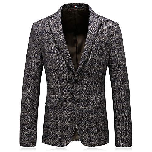 MAGE MALE Men's Plaid Blazer Jacket Slim Fit Causal Sport Coat Two Button Notched Lapel Formal Dinner Jacket Suit Khaki ()