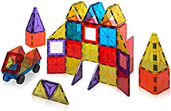 60-Piece Playmags Magnetic Tiles Building Set