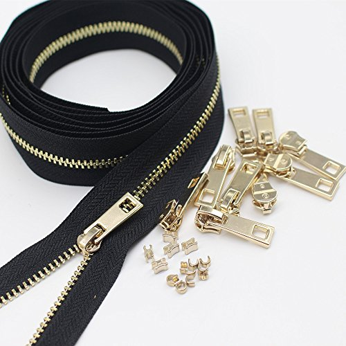 Meillia #4.5 Gold Metal Zippers By The Yard Bulk 2 Yards + 10PCS Pulls for Sewing, Bags, Handbags, Wallets, Purses, Crafts, Decorating (Gold Chain)