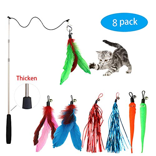 Fun Meows Cat Feather Toy Retractable Wand with 7 Assorted Teaser Refills with Bell,Interactive Thicken Feather Teaser…