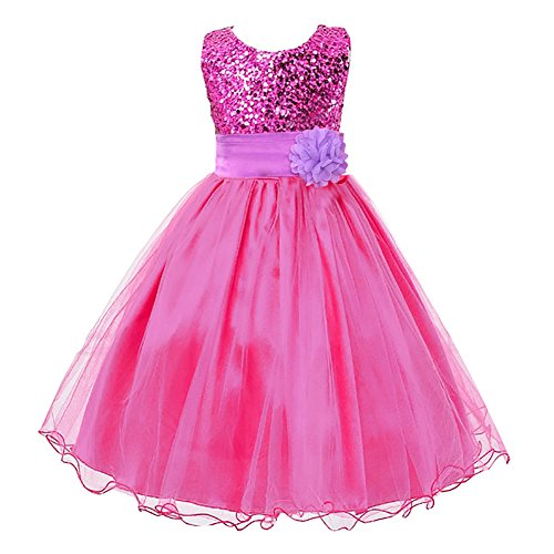 Flower Girls Dress for Wedding Party with Sequins Violet 120