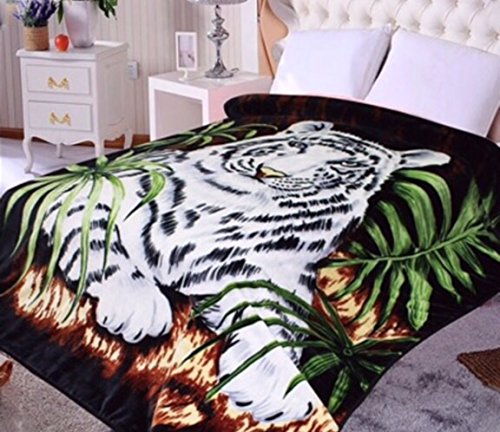White Tiger Throw Animal Blanket, for Traveling, Hiking, Camping , Full Queen , TV, Cabin, Couch, Bed Blanket
