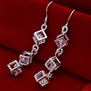 Tzou Women's Square Cubic Zirconia Bow Earrings