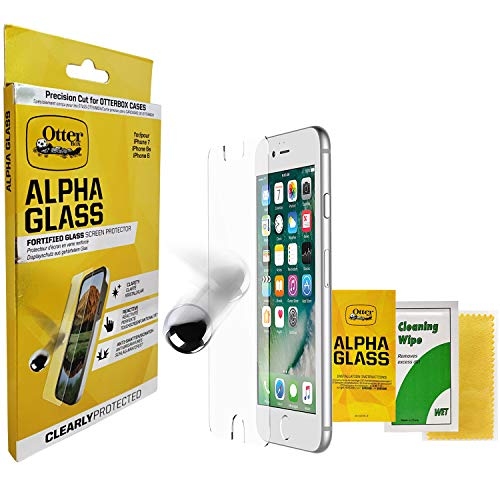 OtterBox Alpha Glass Series Screen Protector with Cleaning Wipe & Cloth for iPhone 8/7/6s/6 - (NOT Plus) - Retail Packaging - Clear