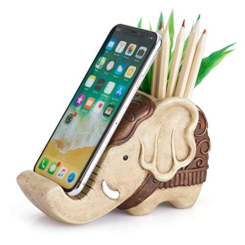 Pen Pencil Holder with Phone Stand, Coolbros Resin Elephant Shaped Pen Container Cell Phone Stand Carving Brush Scissor Holder Desk Organizer Decoration for Office Desk Home Decorative ()