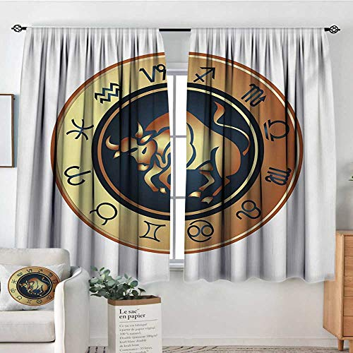 "Elliot Dorothy Curtains for Bedroom Zodiac Taurus,Circle with Twelve Signs Bull Icon in The Middle Future Cosmos,Pale Brown Yellow Indigo,Insulating Room Darkening Blackout Drapes 42""x54"""